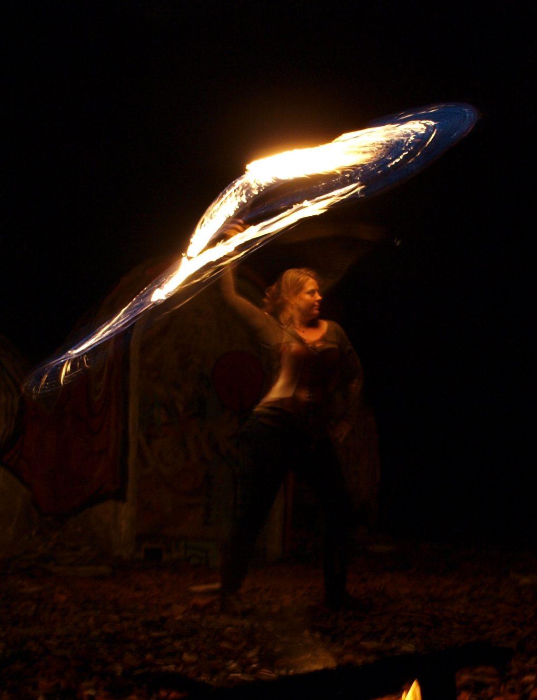 Training für Feuershows : Feuer-Peitsche
